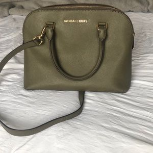green MK bag with strap